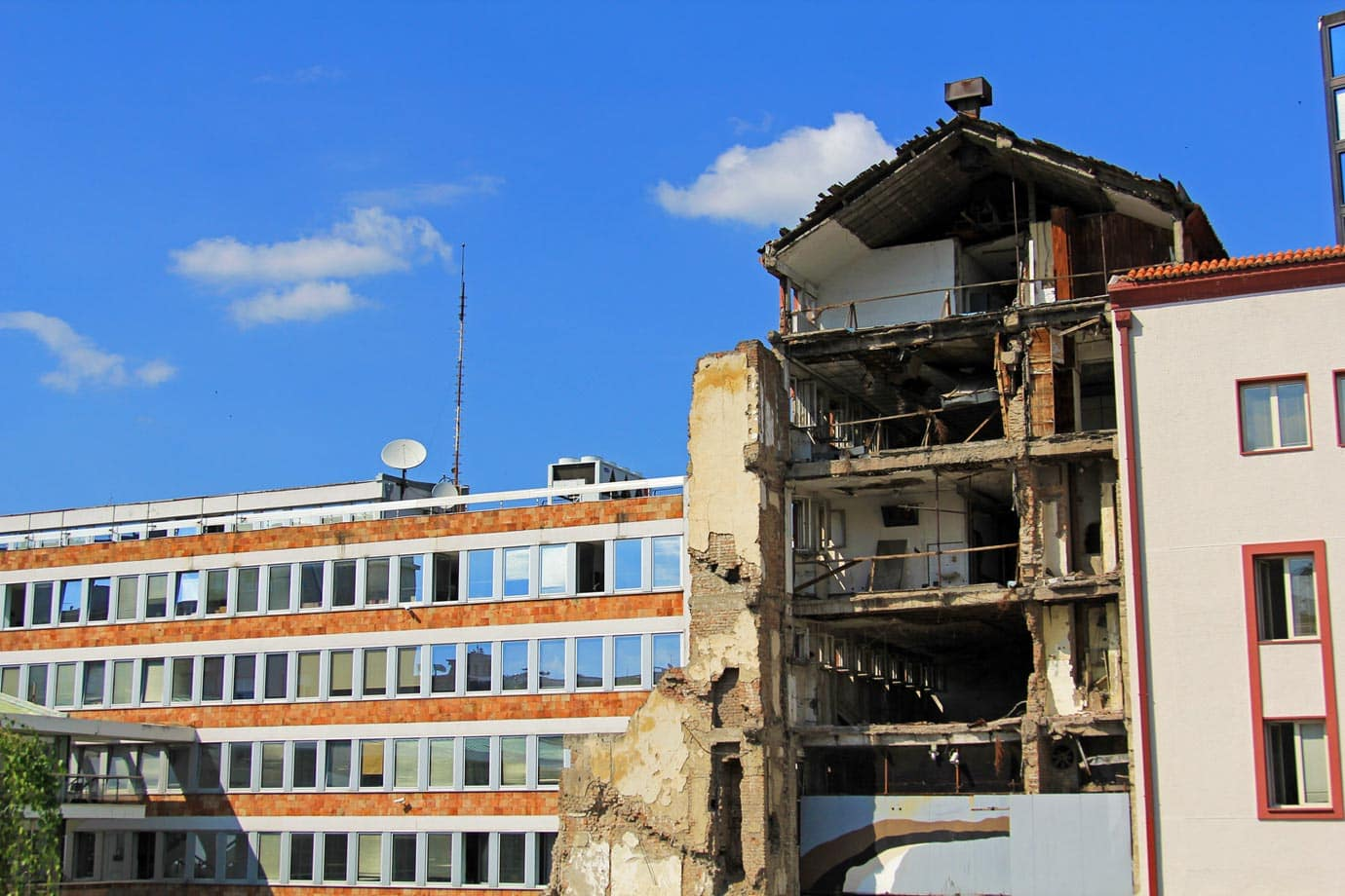 A bombed building in Belgrade that remains untouched as a memorial to the bombings of 1999