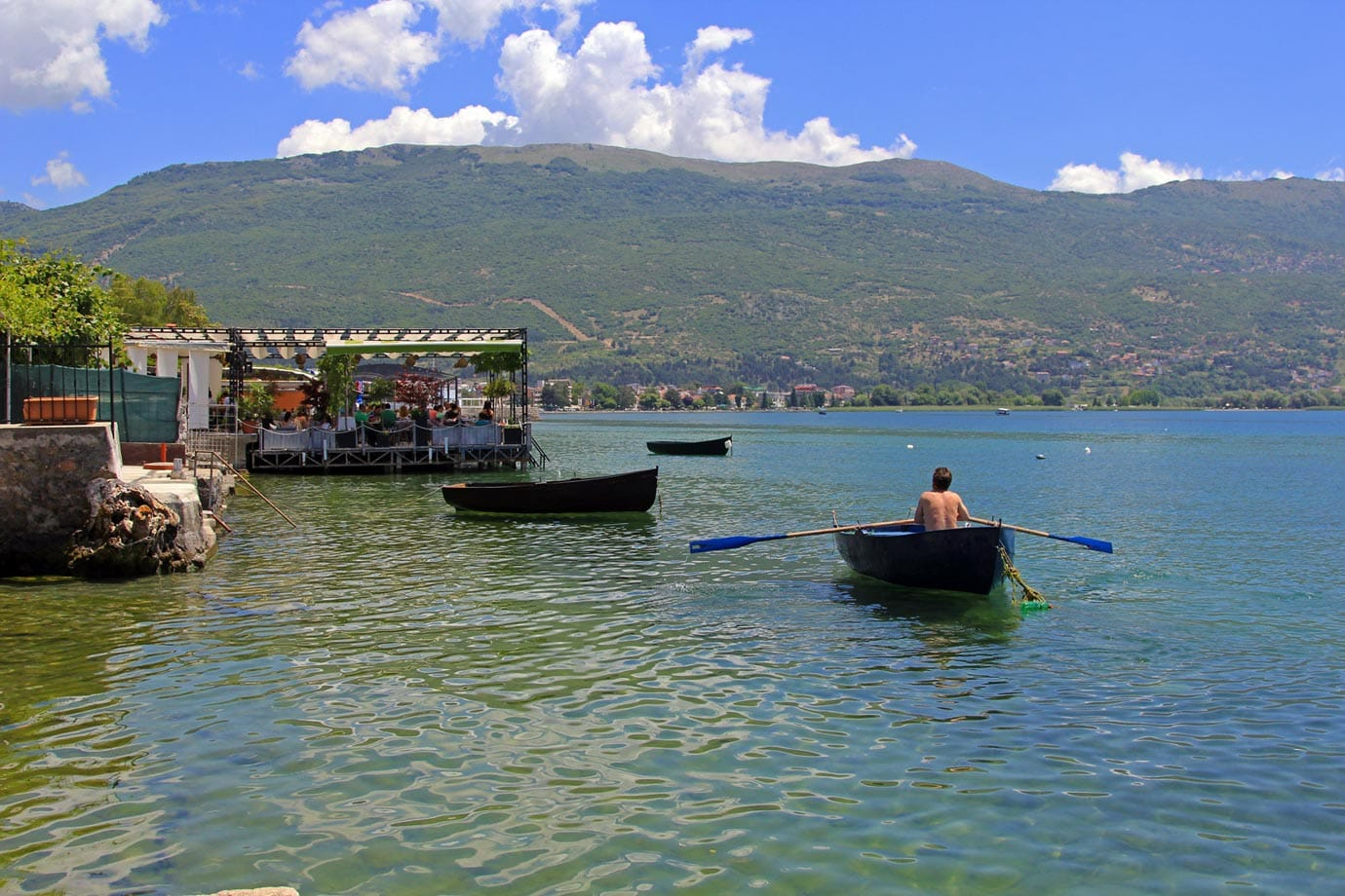 Ohrid is a lakeside town in Macedonia, very close to the border of Albania