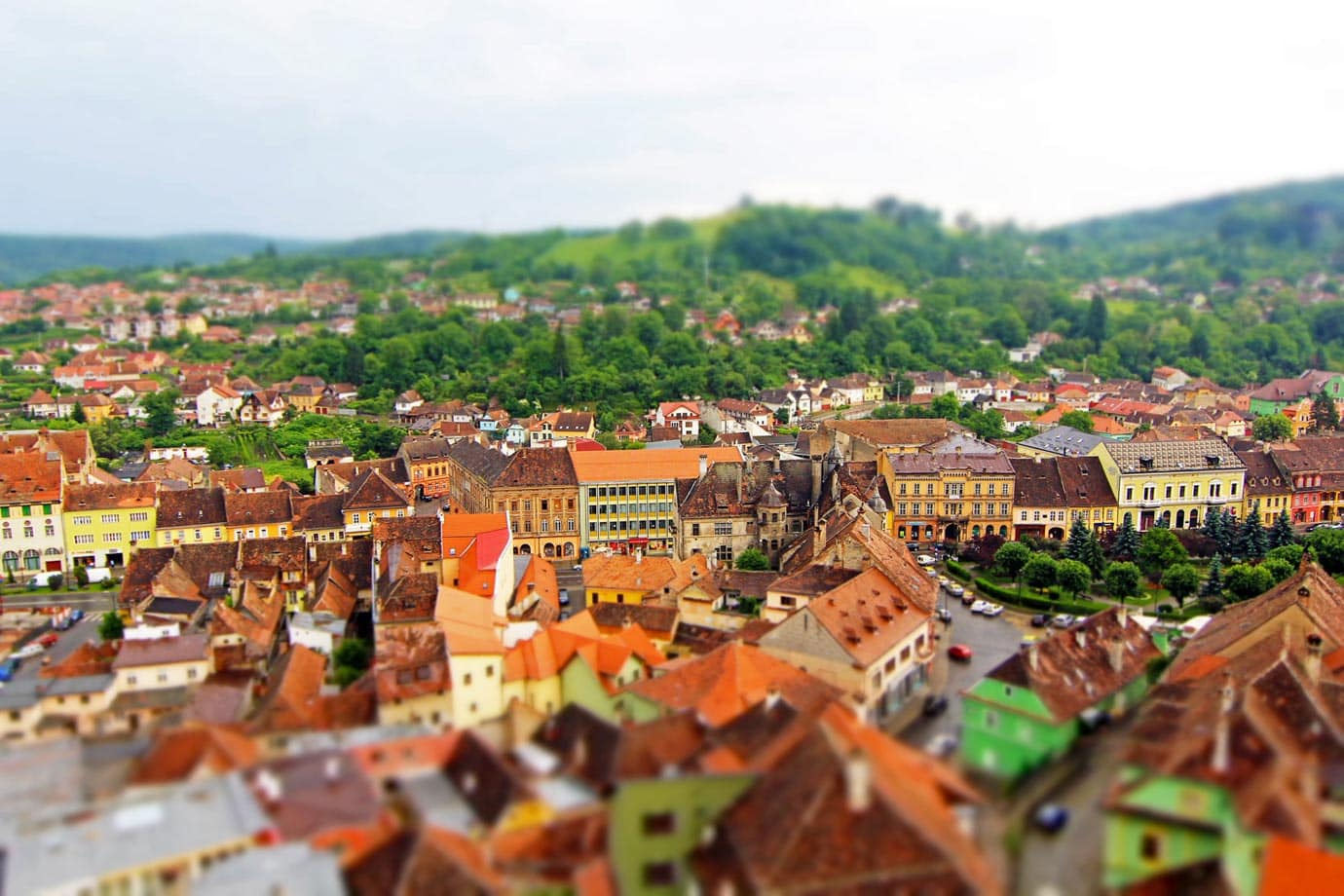 A view of Old Town from the Clock Tower in Sighisoara