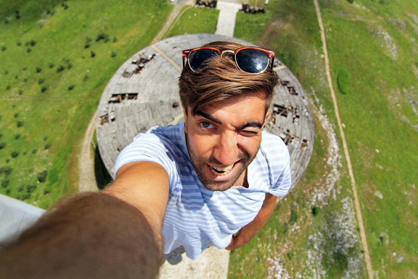 Standing on the Edge of Buzludzha in Bulgaria