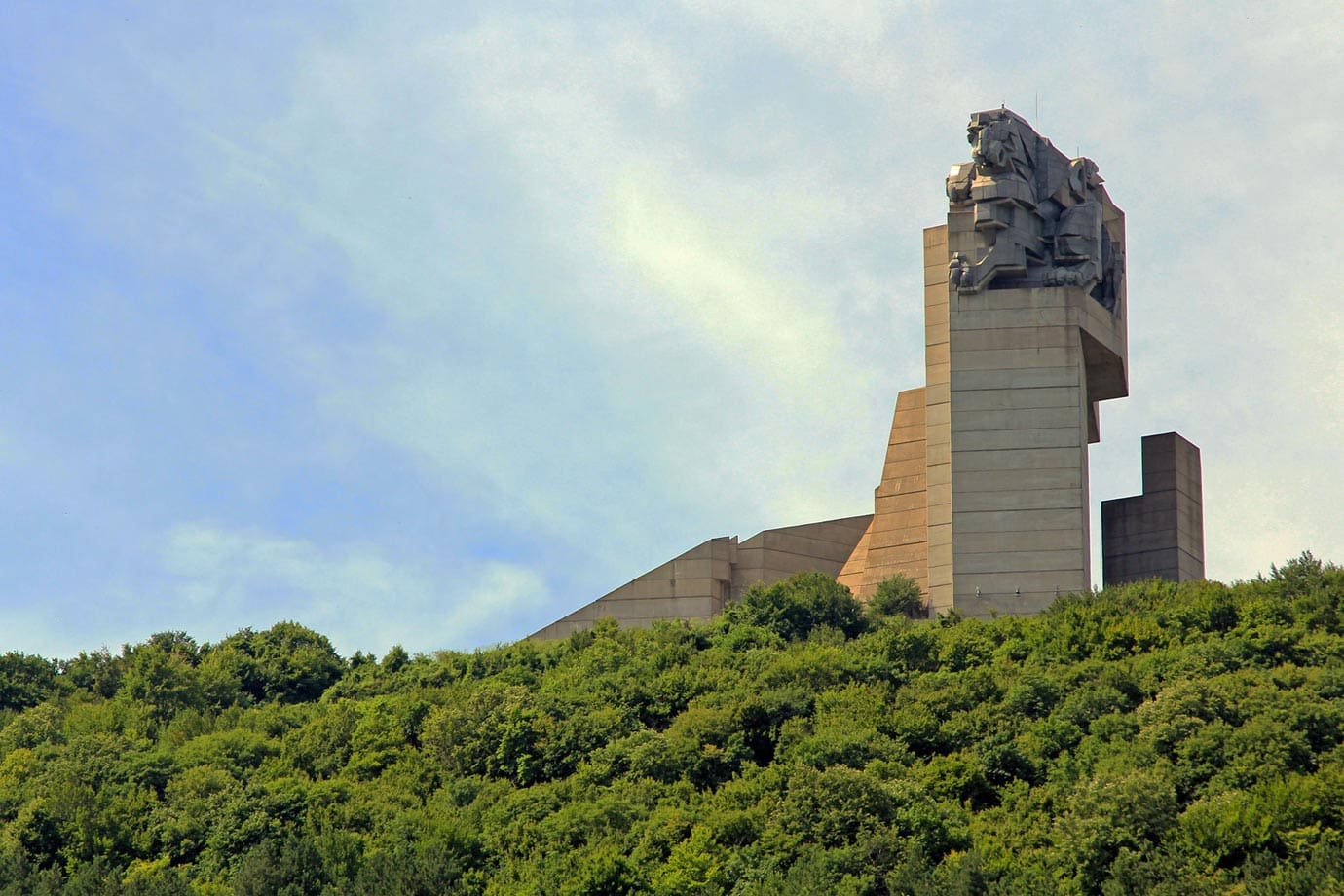 The statues to the founding fathers of Bulgaria stands on top of the hill at Shumen
