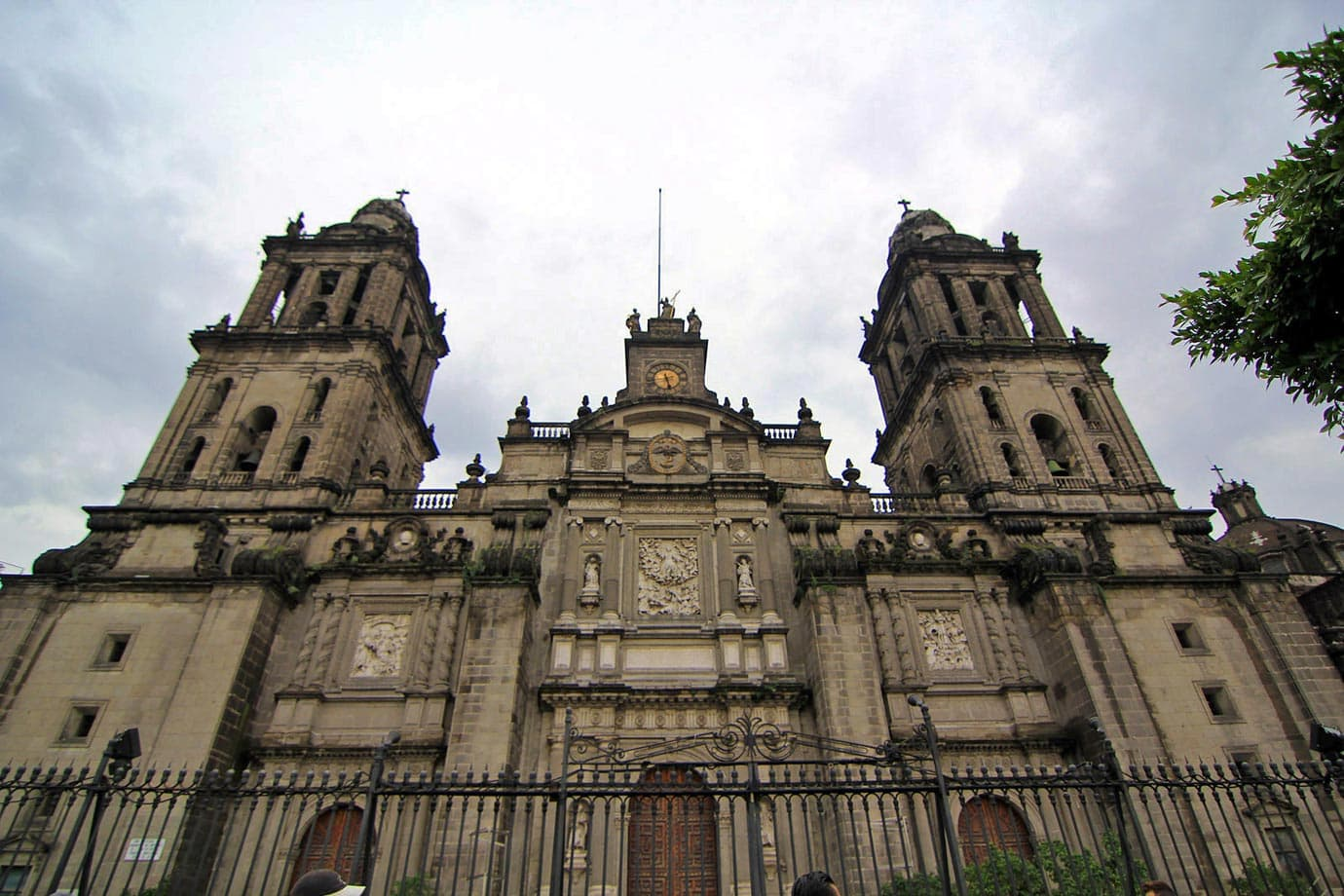 Mexico City Metropolitan Cathedral in the middle of the Zocalo, the central plaza