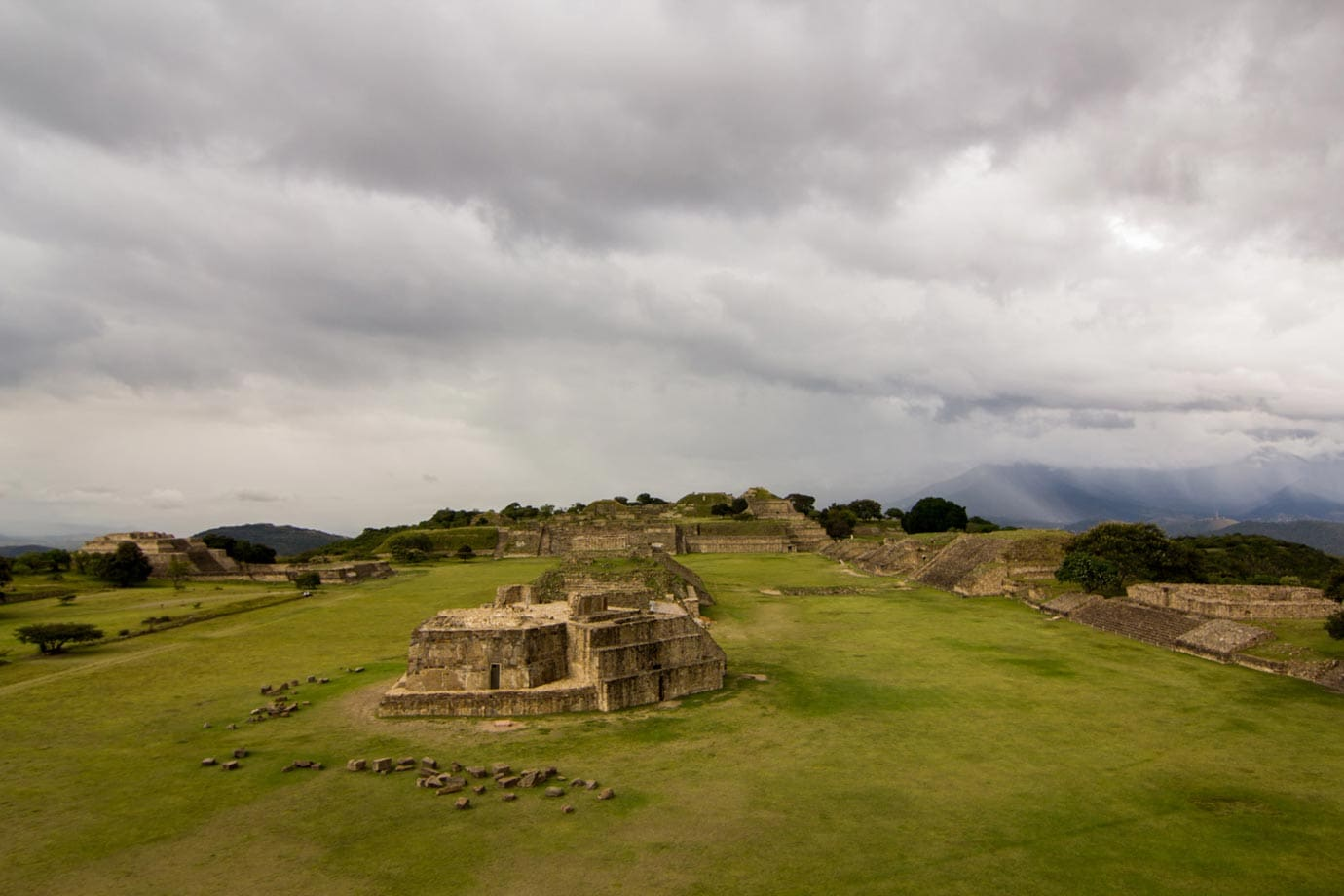 The ancient city of Monte Alban is found high up in the mountains