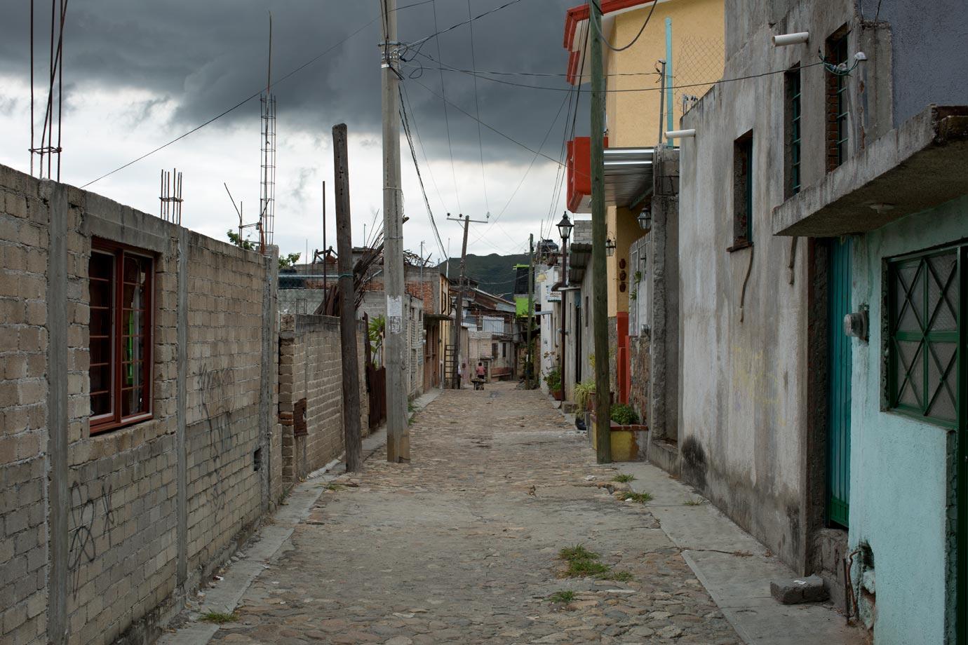 Peeking down the alley in Oaxaca