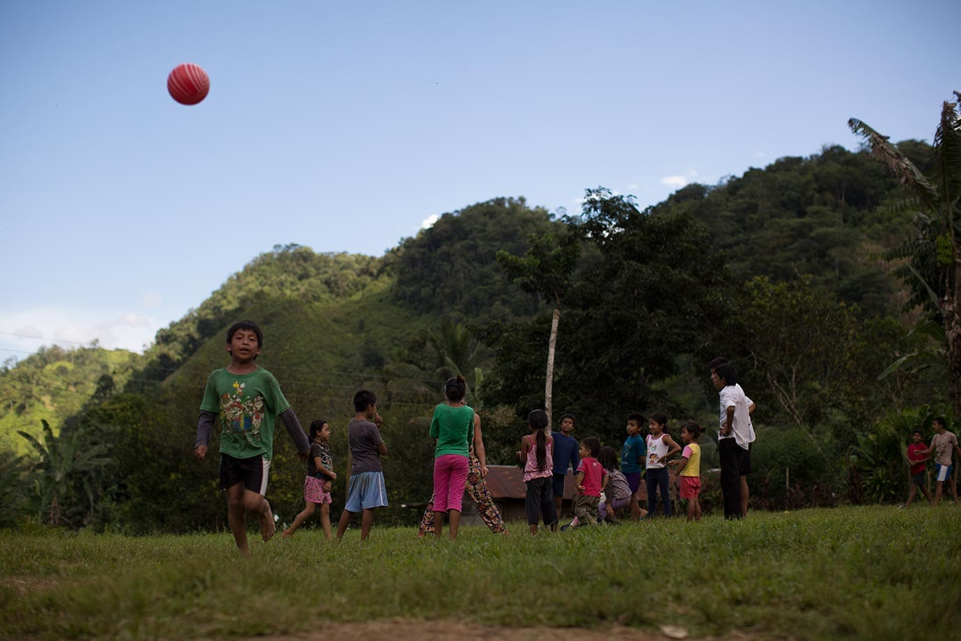 Playing ball with the local kids in Balbatzul
