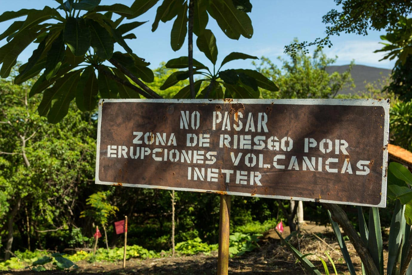 Warning sign at Cerro Negro, Nicaragua