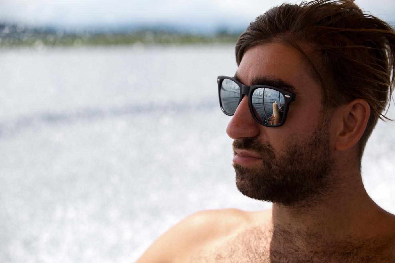 Macca Sherifi on a boat