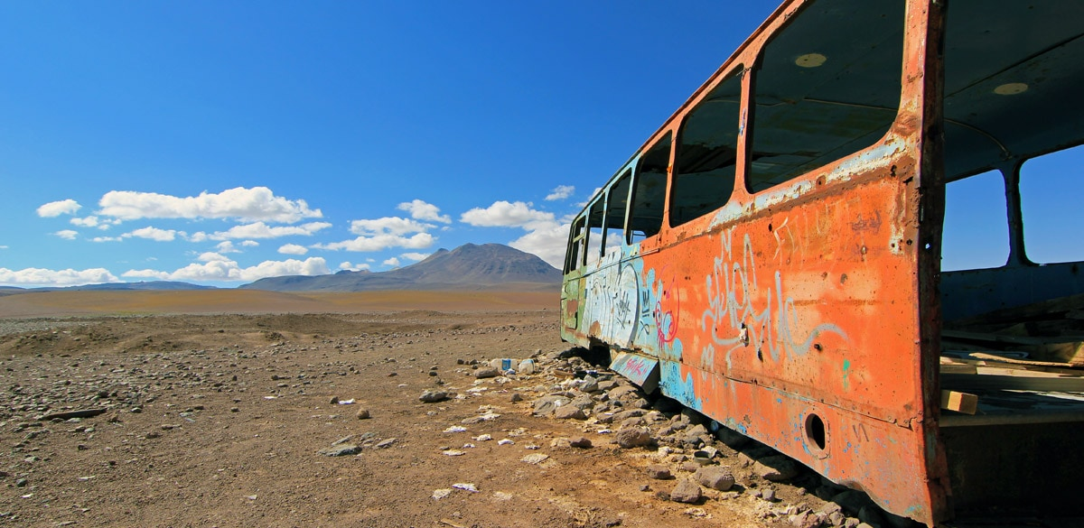 Deserted bus on the border of Bolivia and Chile