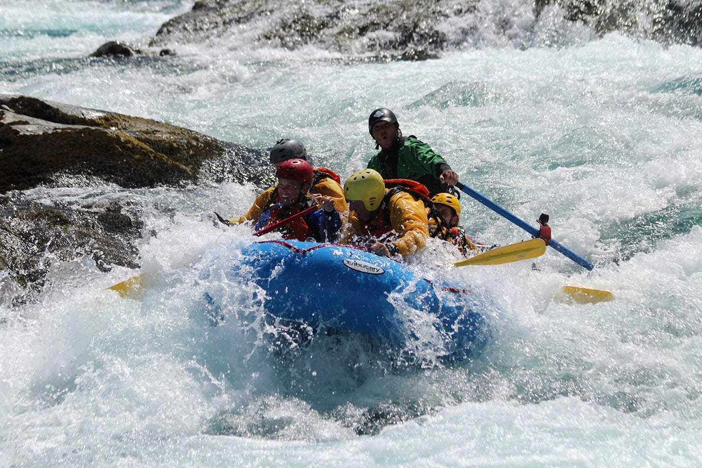Hitting a boulder on the Petrohue River