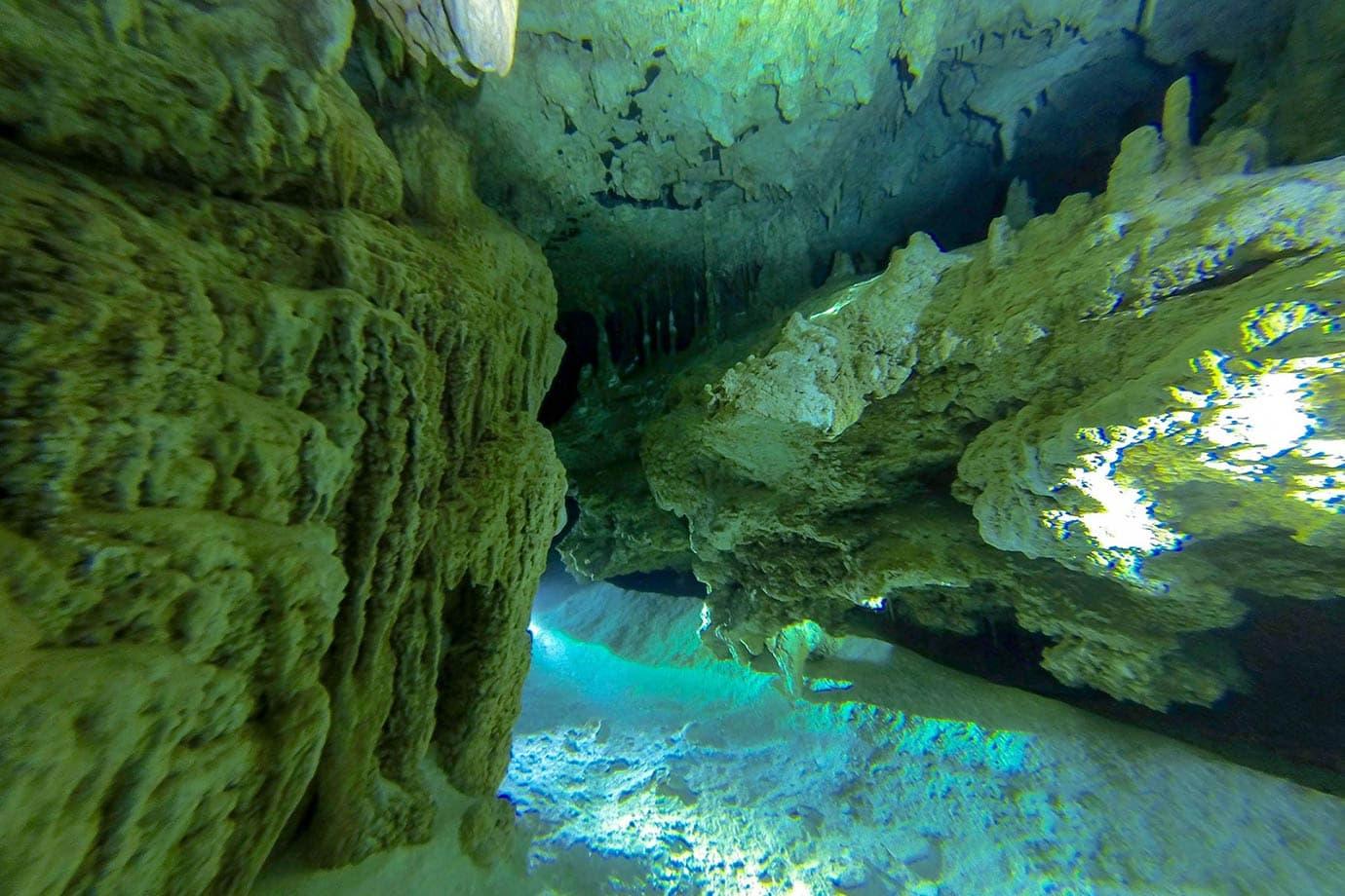 Diving at Dos Ojos, Mexico