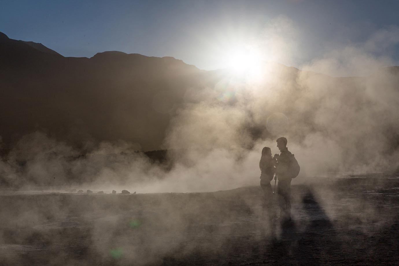 Sunrise at El Tatio geysers, Atacama Desert, Chile