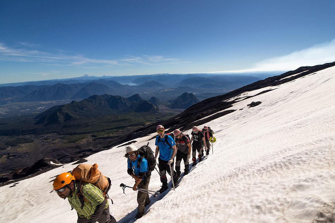 Climbing up Volcano Villarrica