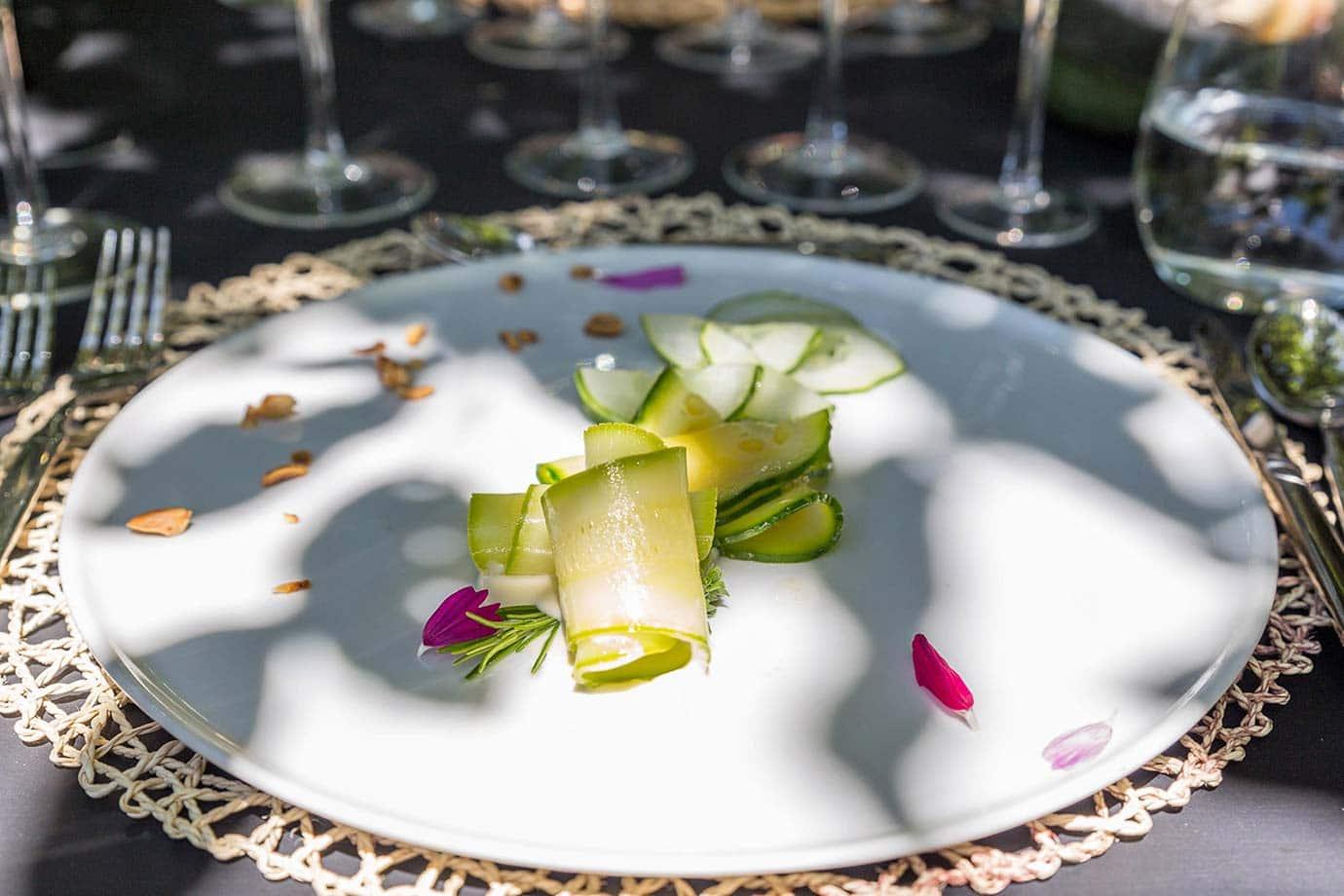 Squash carpaccio, infused ricotta, lemon vinaigrette and almond slice