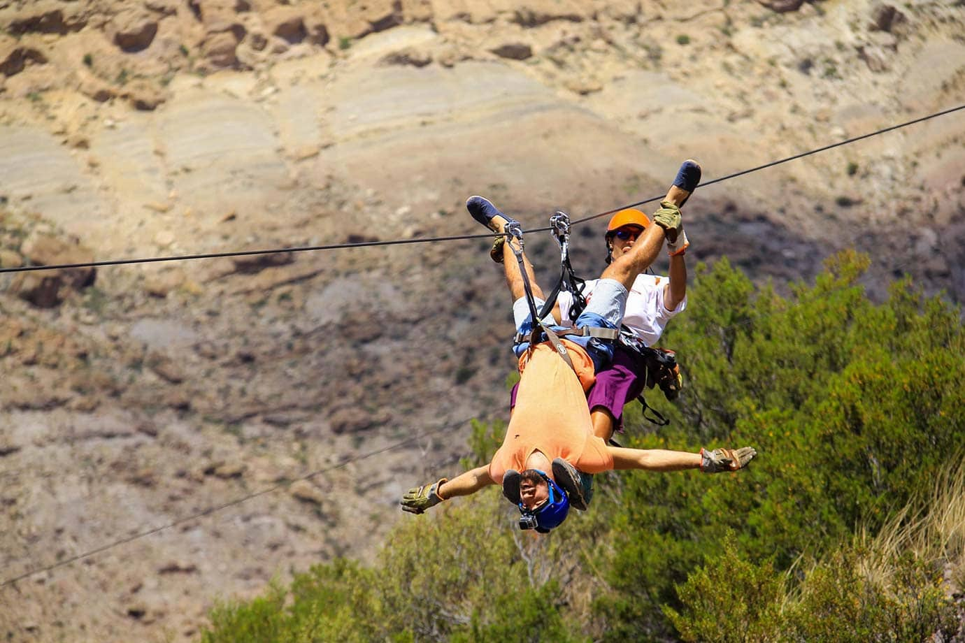 Upside down ziplining