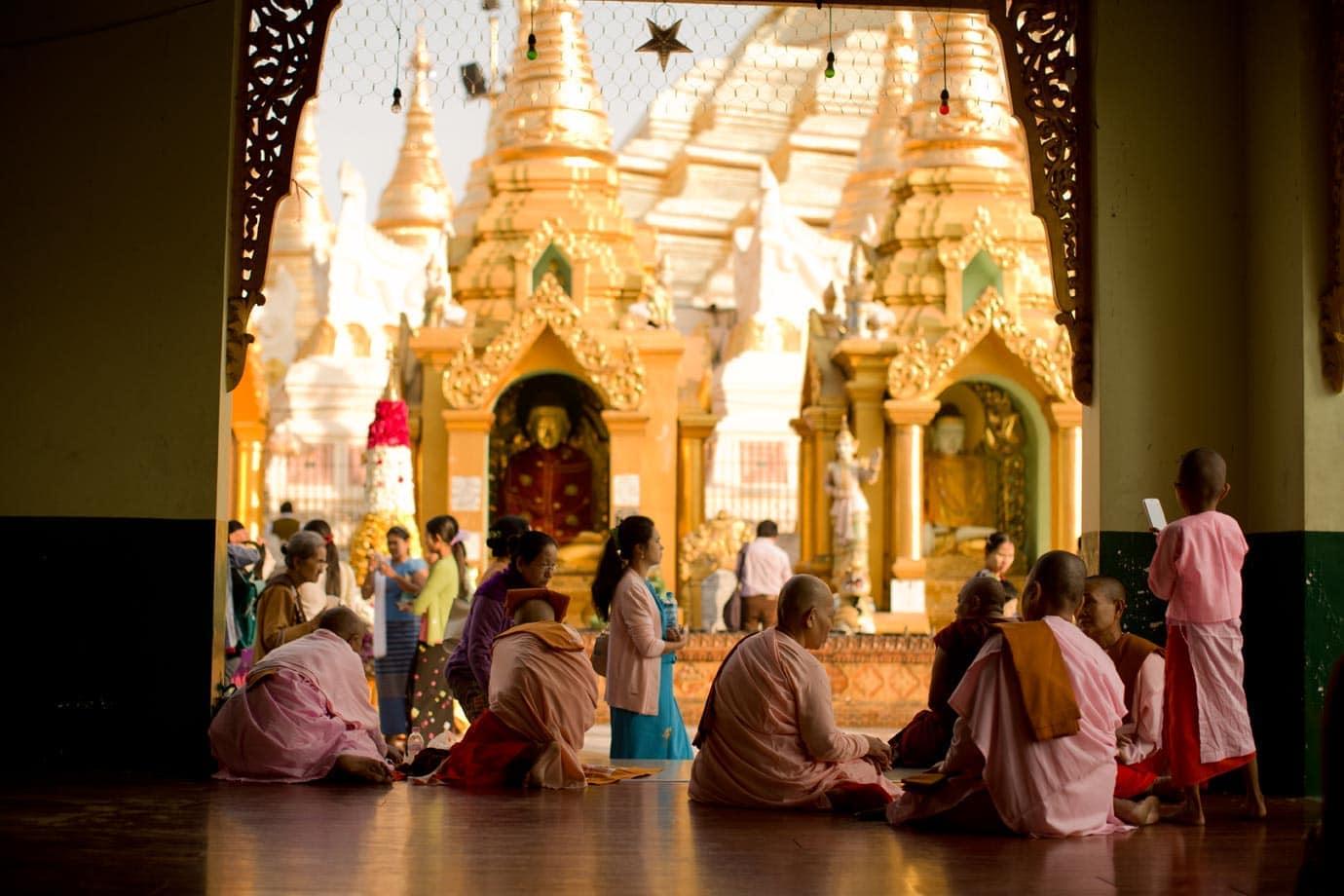 Finding shade in the Schwedagon Paoda - ©Brian Ceci