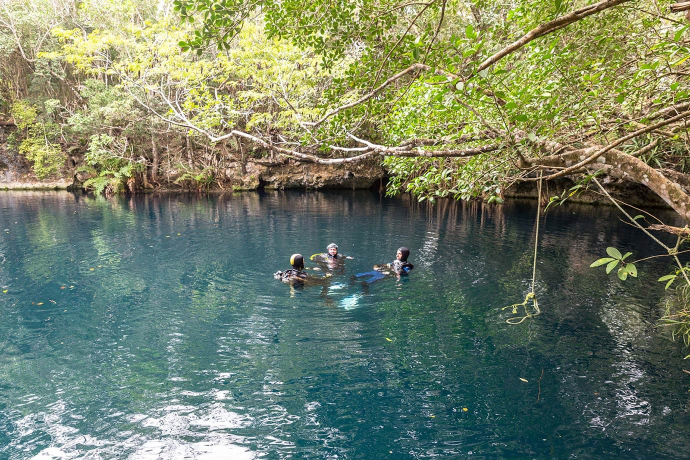 People waiting to dive at Cenote Angelita
