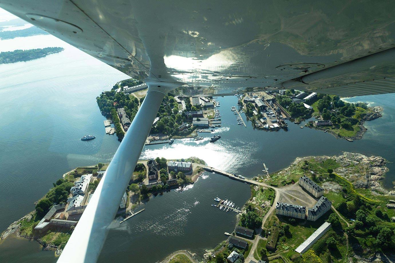 Flying over Helsinki, Finland
