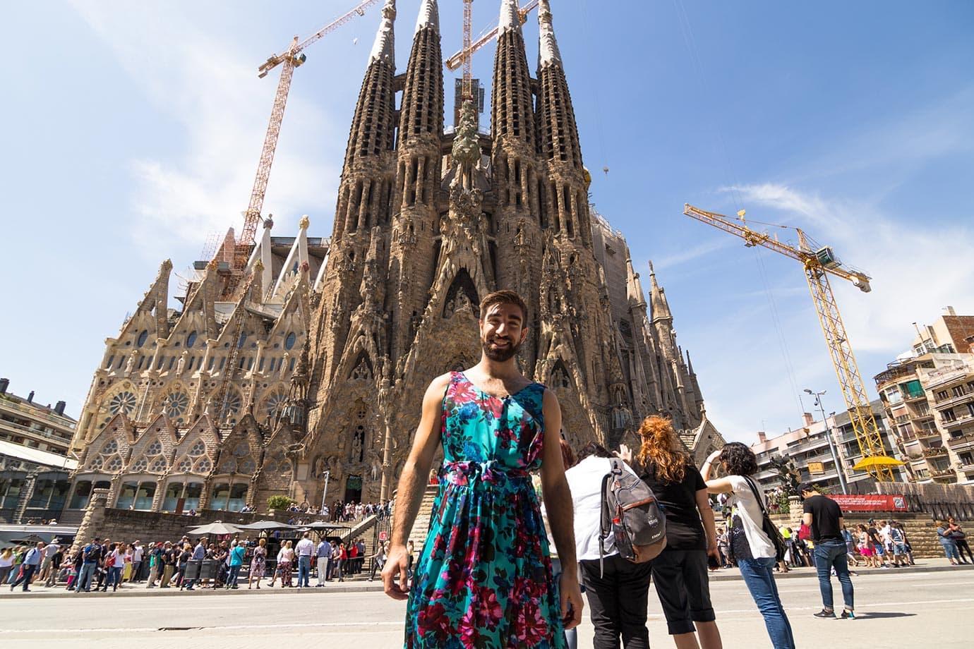Standing outside the Sagrada Familia