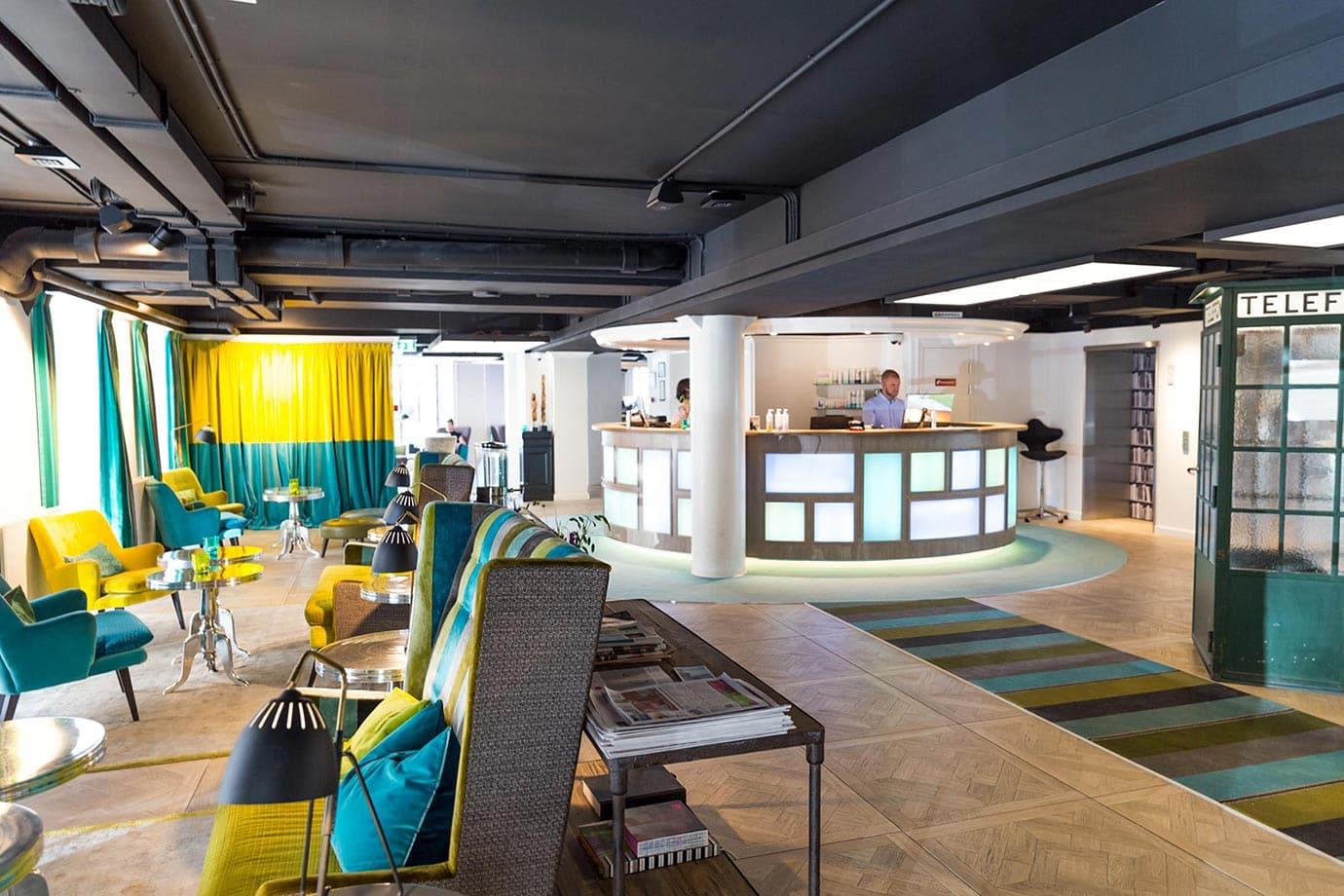 Reception area of the Absalon Hotel, Copenhagen