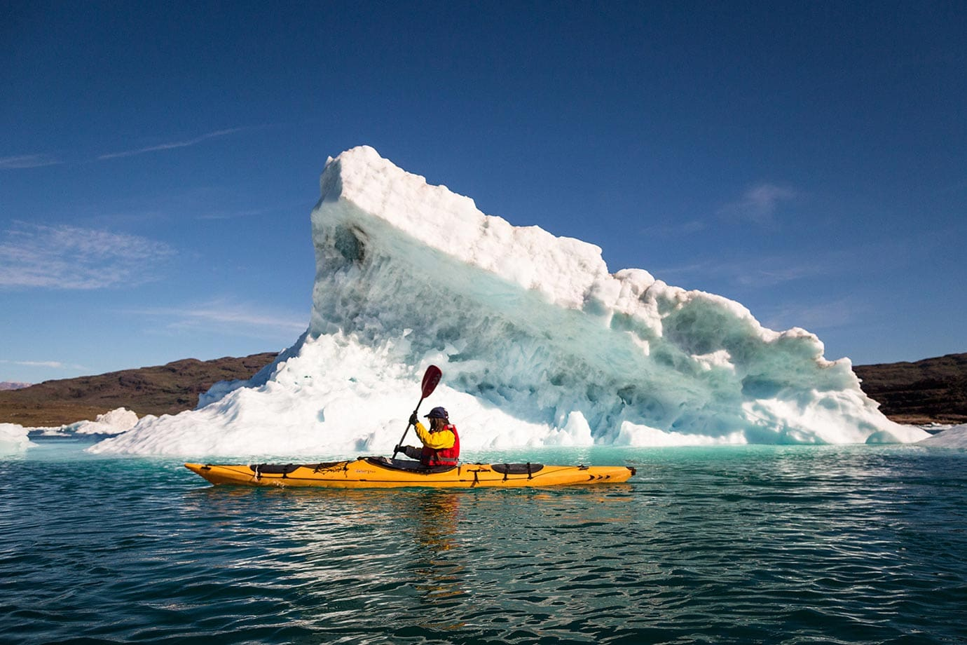Kayaking with icebergs in Southern Greenland