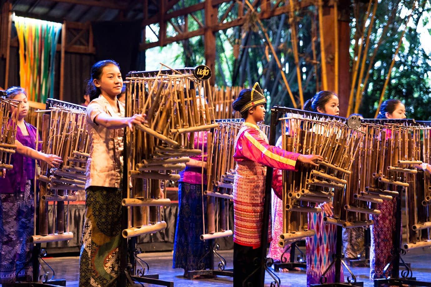 Angklung performance, Bandung, Indonesia