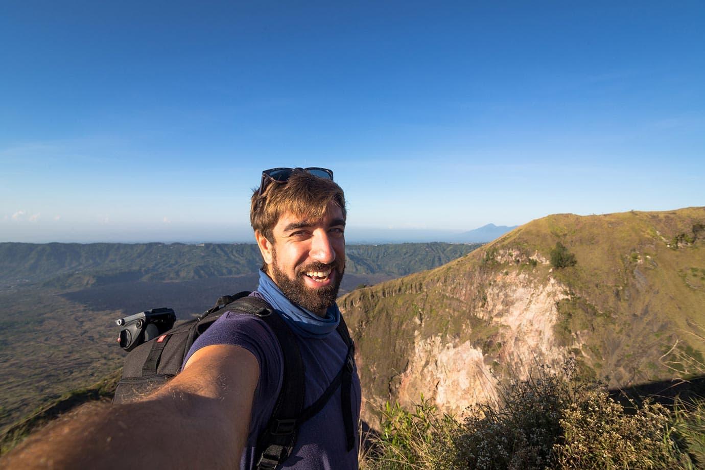 Hiking down Mount Batur