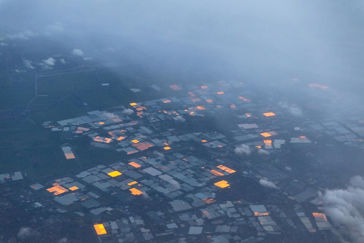 Greenhouses over the Netherlands