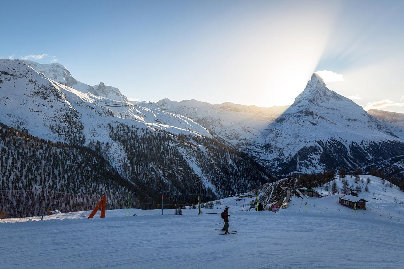 Skiing at sunset in Zermatt