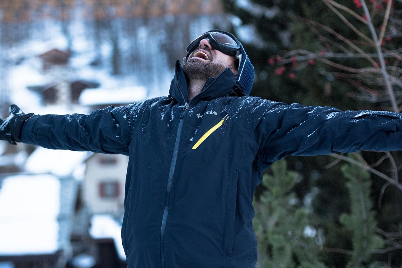 Macca Sherifi skiing