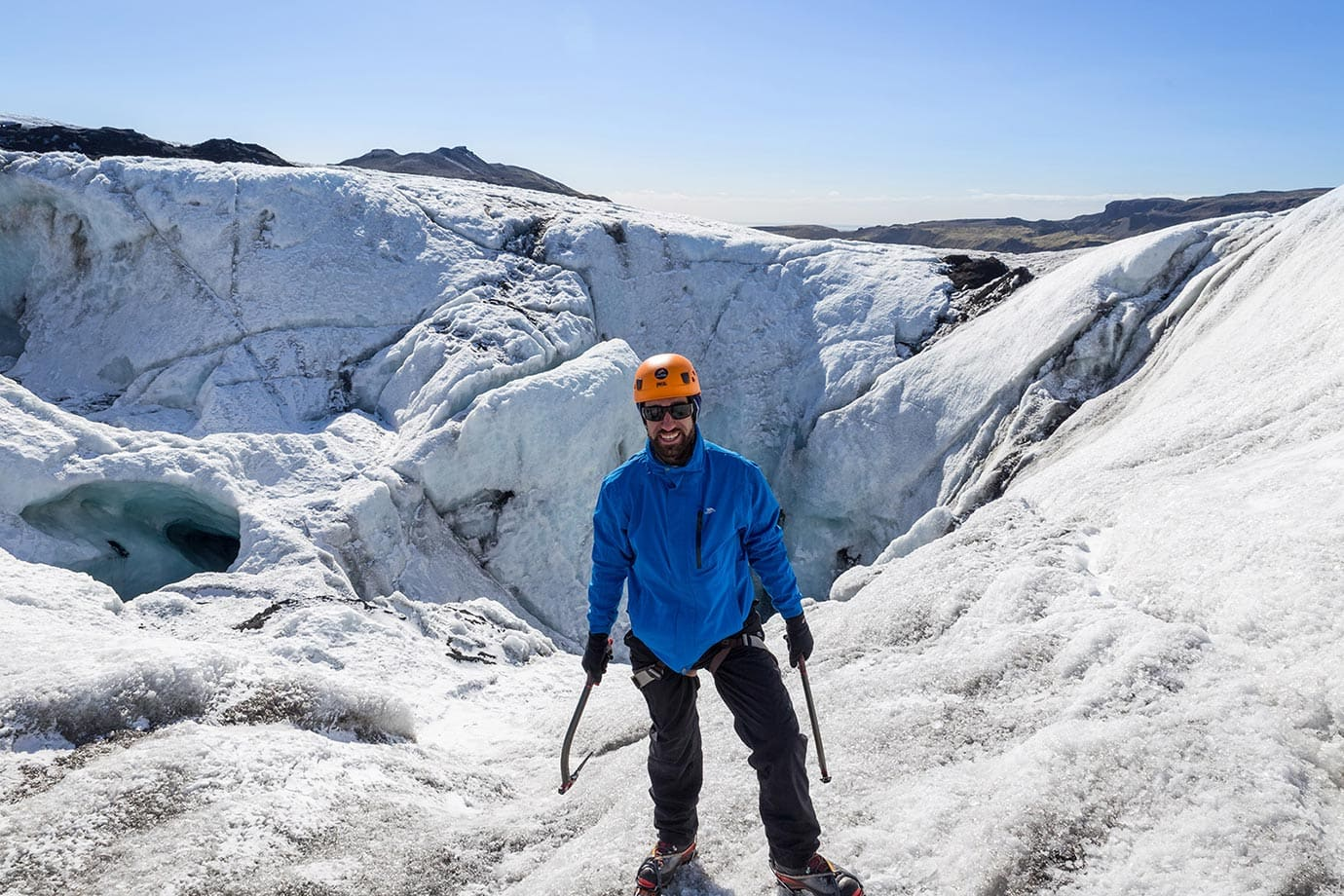 Macca Sherifi ice climbing