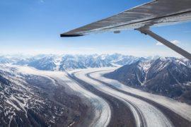 Flying over Kluane National Park