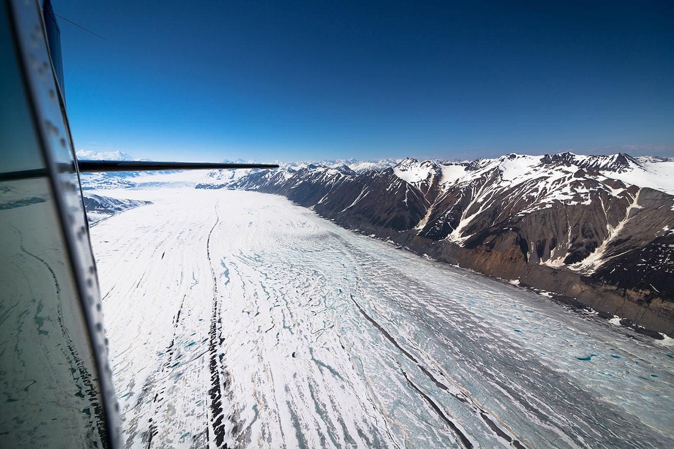 Flying over a glacier in Yukon