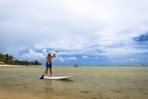 Standup paddleboarding in Mauritius