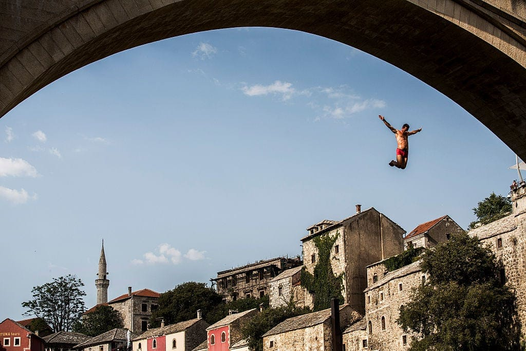 Jumping off the Bridge in Mostar