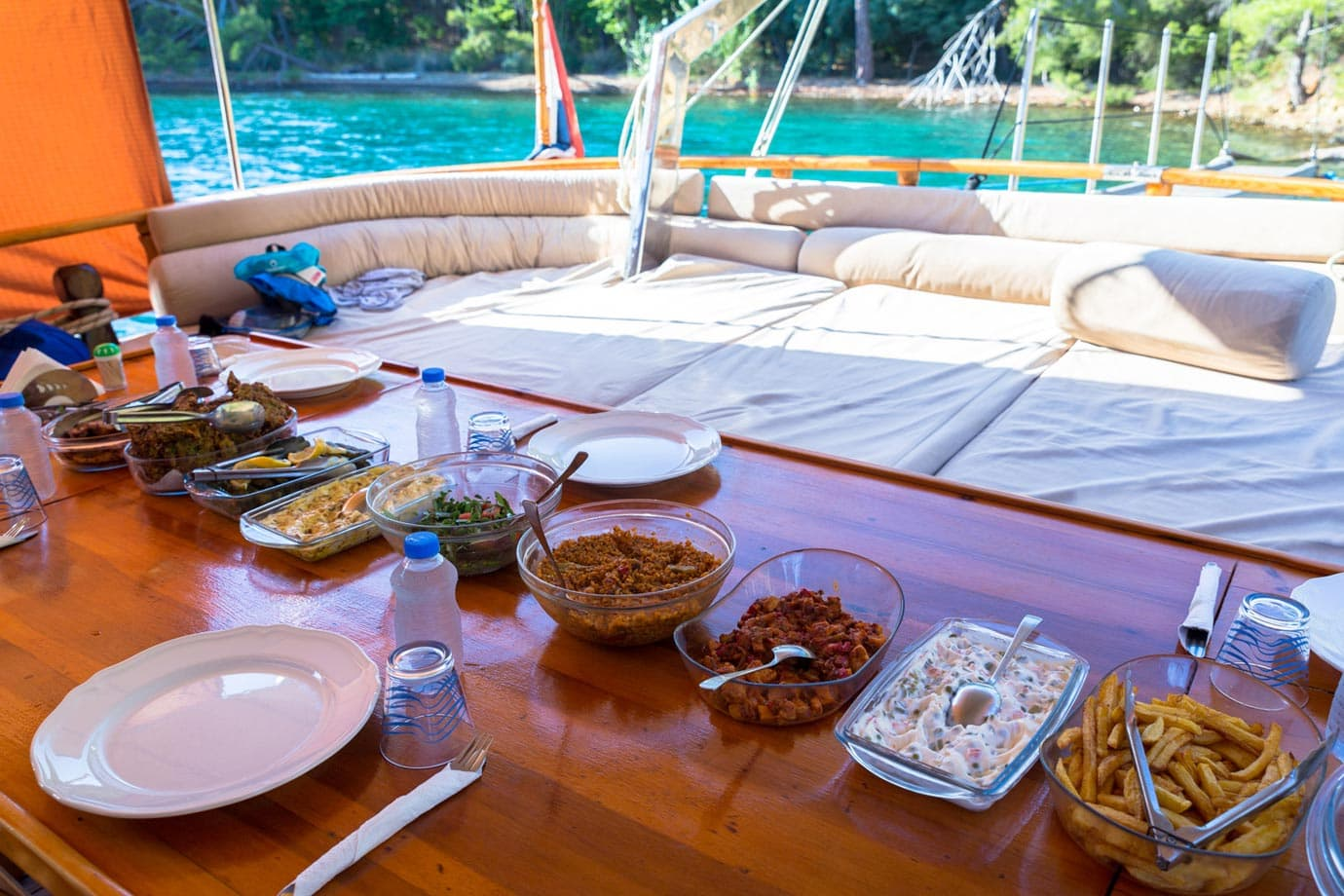 Dinner on a sailing boat in Turkey