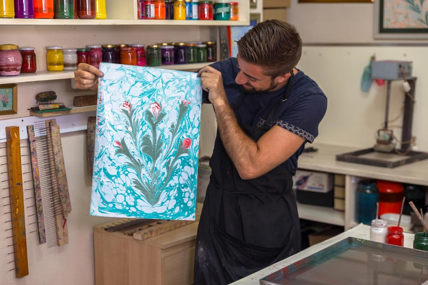 what is paper marbling