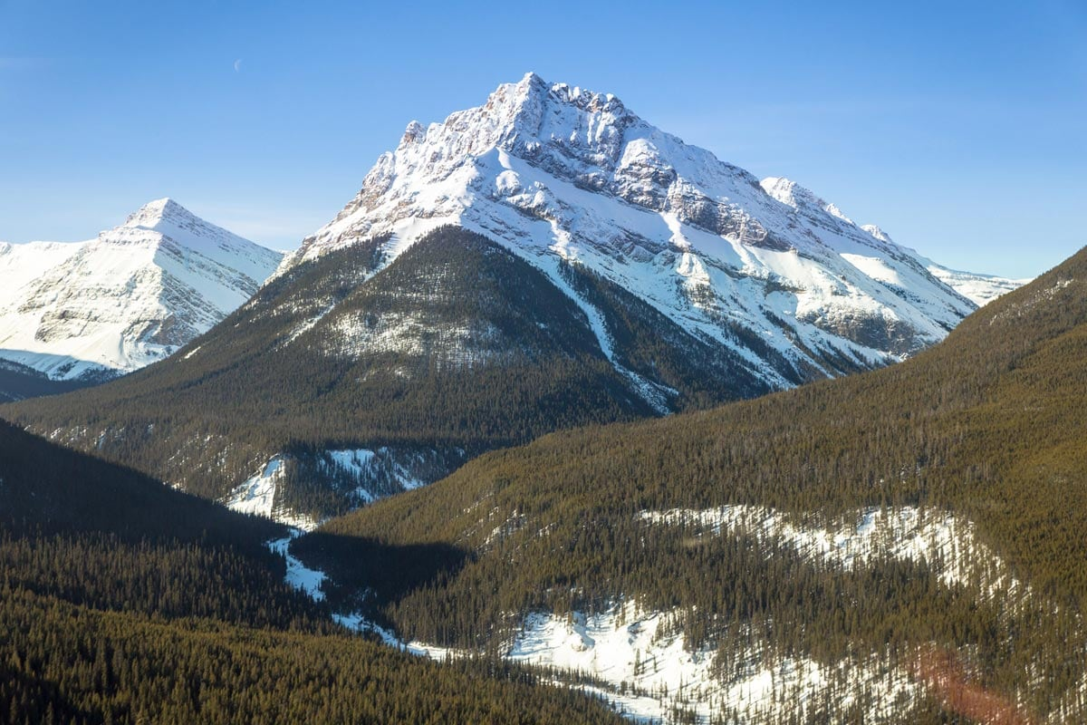 Helicopter tour over the Rocky Mountains in Canada