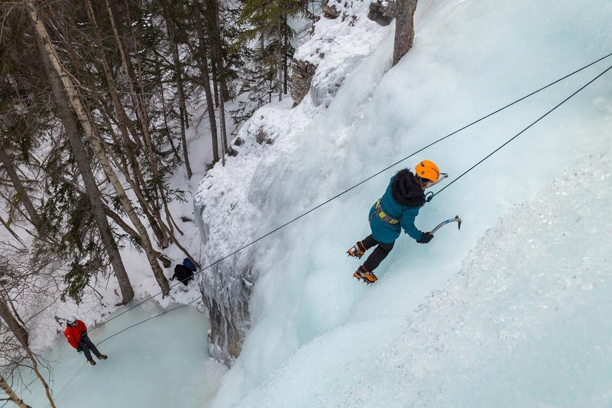 Ice climbing in Banff