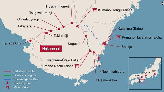Nakahechi Route map