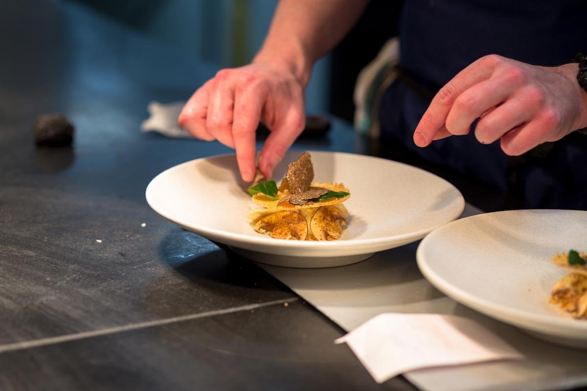 preparing food at restaurant marcus
